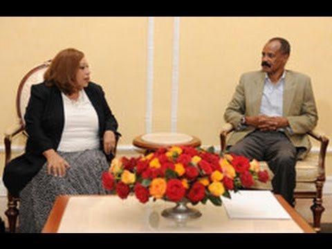 Eritrean President Isaias Afwerki with Egyptian President special envoy Ambassador Muna Omar