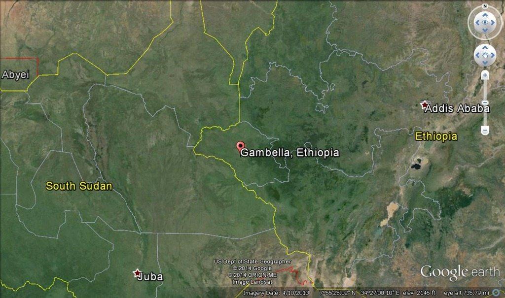 Map - Juba,South-Sudan and Gambella, Ethiopia