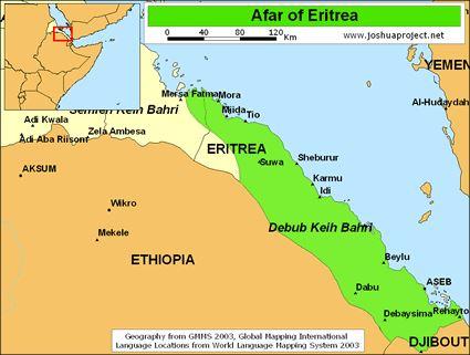 Map - Afar region in Eritrea