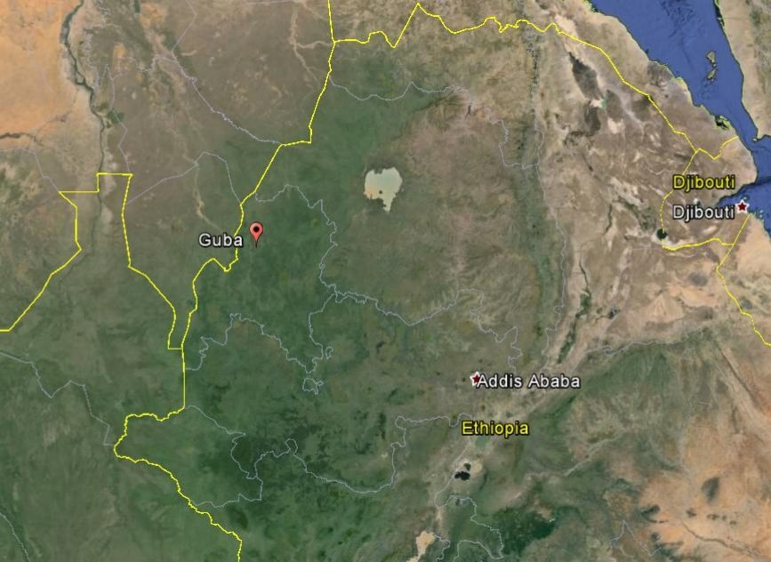Map - Benshangul Gumuz region, Metekel zone, Guba woreda