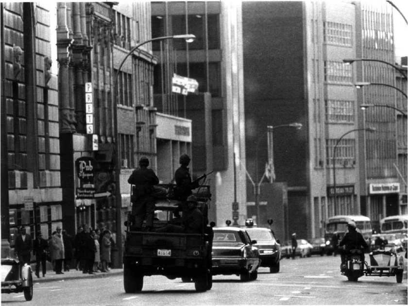 Photo - Troops on the streets of Montreal, Canada, during the 1970 October Crisis [Credit: Montreal Gazette]
