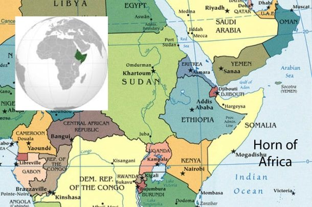 International Partners Visit Droughthit Horn Of Africa Pledge - Horn of africa map