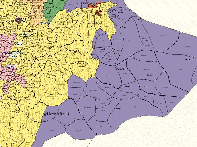 Map - Eastern Ethiopia - Oromia and Somali regions