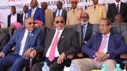 Photo - Muse Bihi, Ahmed Silanyo and Dahir Riyale, the new president and his predecessors [Photo - Muse Jeeh]