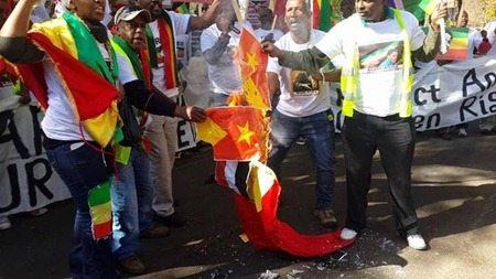 Ethiopian oppositin burning Tigrai flag
