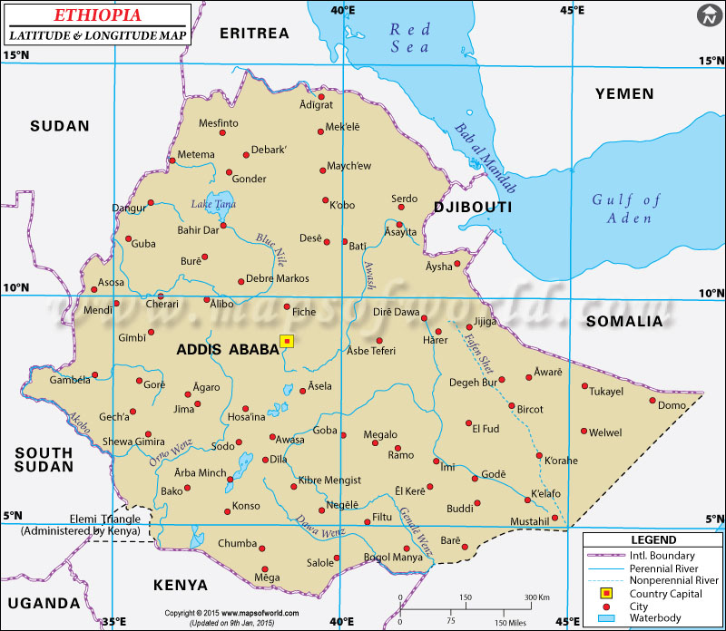 Map - major Ethiopian cities