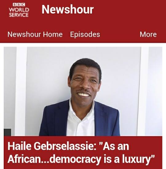 Photo - Screenshot of BBC news on Haile Gebrselassie