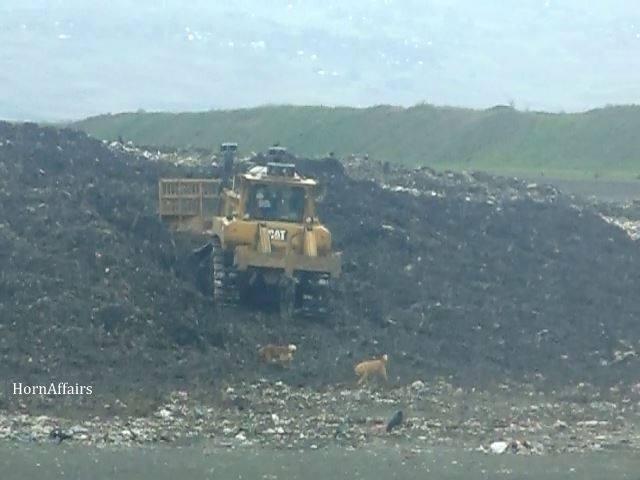 Photo - Sendafa Landfill, A truck pushing the pile of garbage