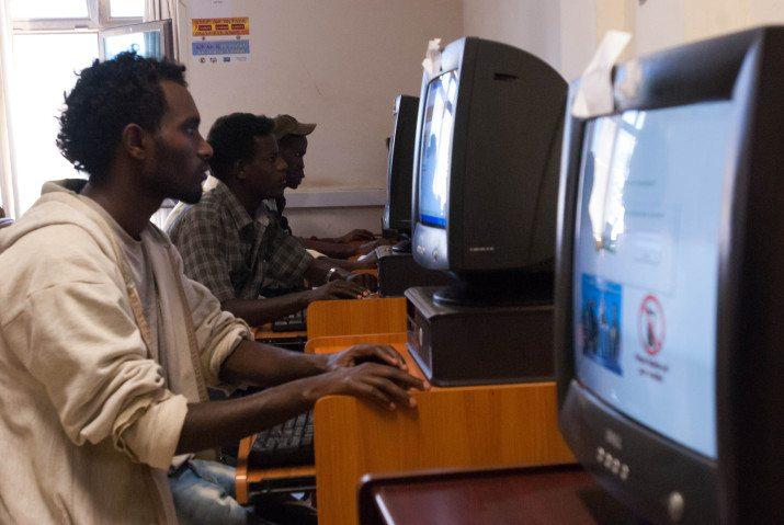 Photo - Ethiopian internet cafe [Credit: UNICEF Ethiopia/2013/Sewunet]