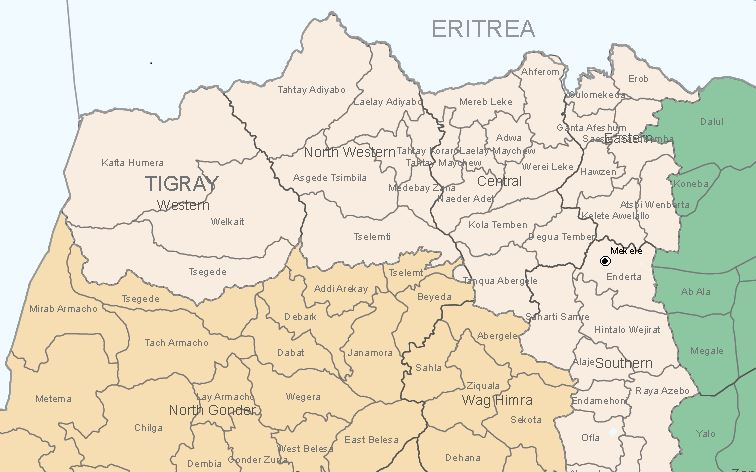 Map - Tigray region and North Gondar of Amhara region
