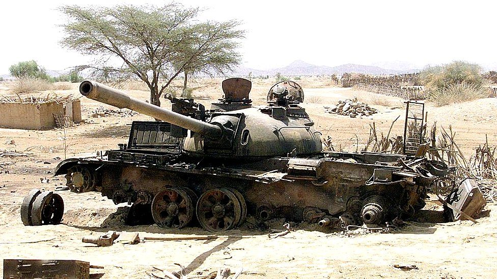 Photo - An Eritrean tank destroyed in a battle with Ethiopian troops around Barentu town on May 20, 2000 [Getty Images/AFP]