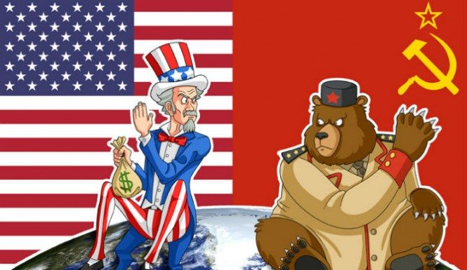 Image - Uncle Sam and Russian Bear, cartoon