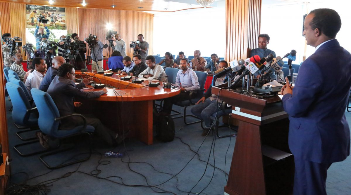 Photo - Press briefing by Meles Alem, Spokesperson of Ethiopian Ministry of Foreign Affairs