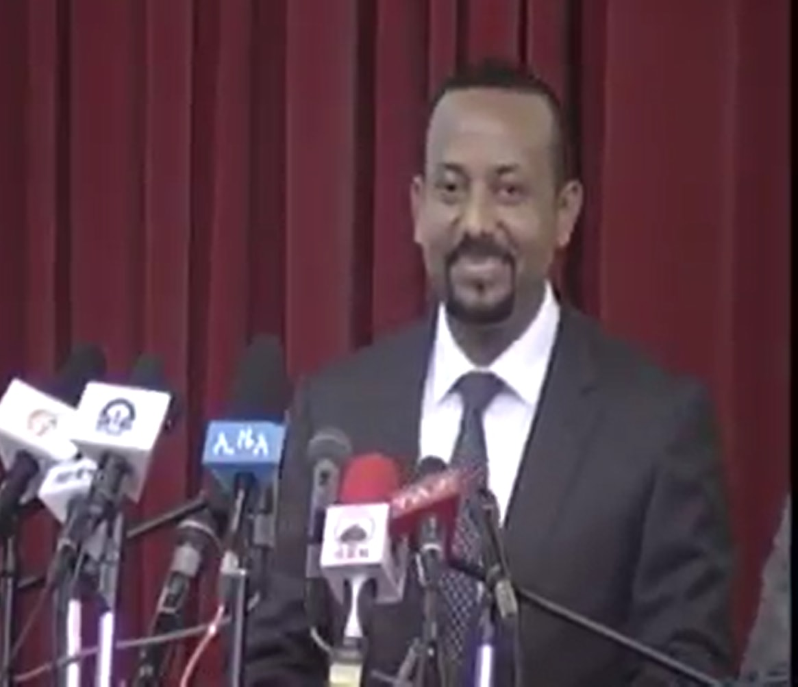 Photo - PM Abiy Ahmed speaking in Mekelle, Martyr's hall, April 13, 2018