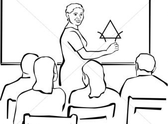 Image - Teacher, students in classroom Clipart