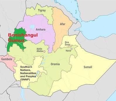 Map - Benshangul-Gumuz region, Ethiopia
