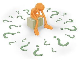 Image - Clipart depicting a man sitting surrounded by question marks