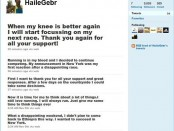 A Snapshot of Haile G/selassie Twitter account, as it appeared on Nov15/2010
