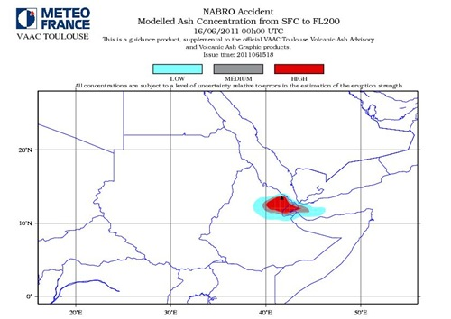 Nabro Volcano Modelled Ash Consentration SFC to FL200 June 16-2011_00GMT