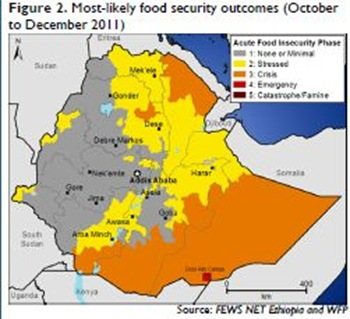 Figure 2 Most-likely food security outcomes (October to December 2011) [Source FEWS NET Ethiopia and WFP]