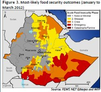 Figure 3 Most‐likely food security outcomes (January to March 2012)