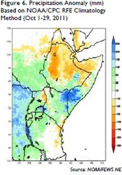 Figure 6 Precipitation Anomaly (mm) Based on NOAA-CPC RFE Climatology Method (Oct 1-29, 2011)