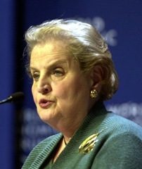 Madeleine Korbel Albright - the first female Secretary of State of US from 1997-2000 under President Clinton