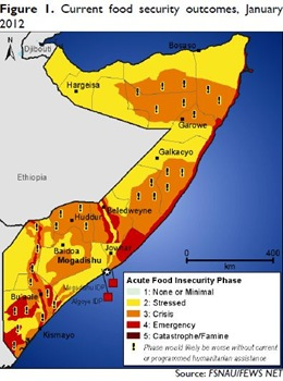 Somalia - Current food security outcomes (January 2012)