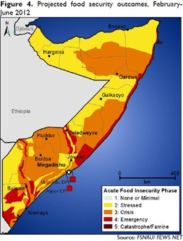 Somalia - Projected food security outcomes (February - June 2012)