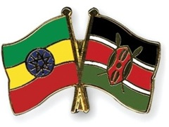Ethiopian and Kenyan flags (left to right)