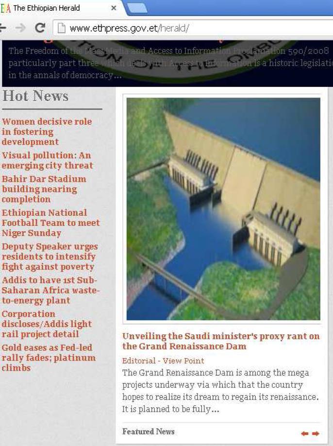 Screen-shot of Ethiopian Herald's deleted article on Saudi Arabia