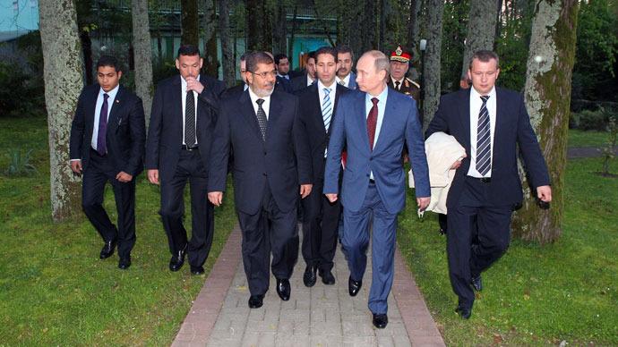 Egypt Pres. Mohammed Morsi and Russia Pres. Vladimir Putin