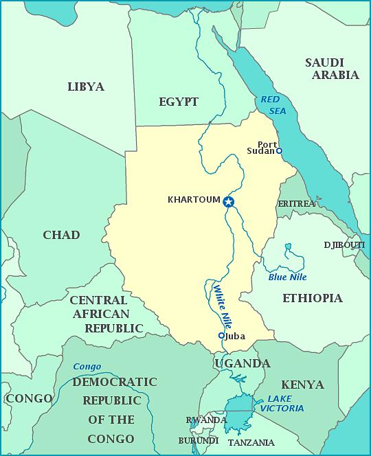 Ethiopia Egypt Nile river map