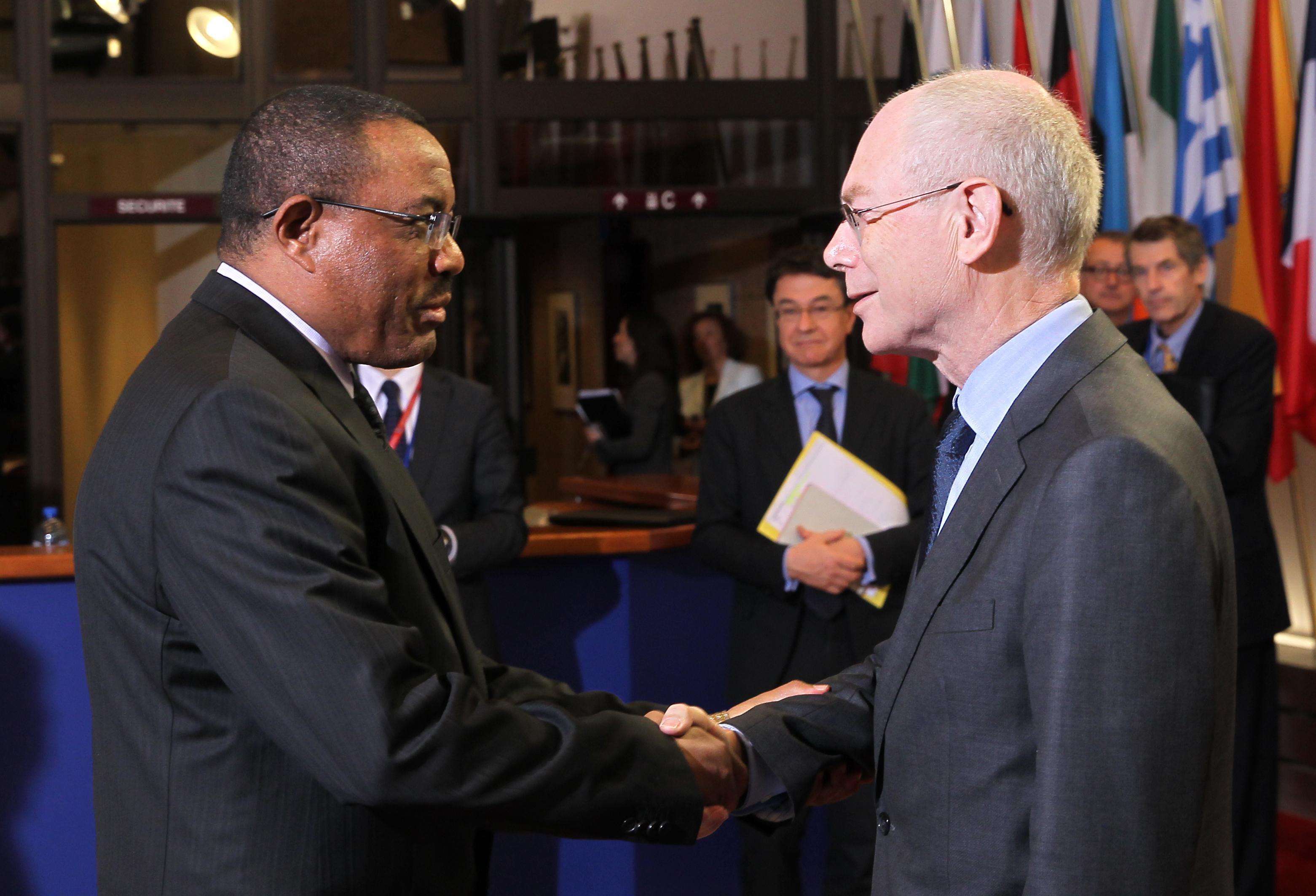 Prime Minister Hailemariam Desalegne and EU Council President Herman Van Rompuy