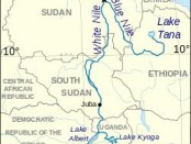 Nile river flow map - Uganda to Egypt