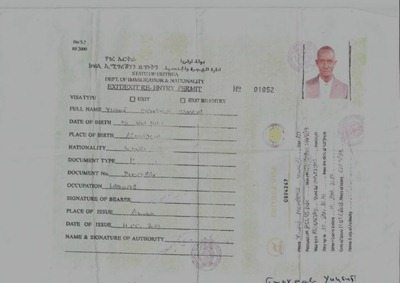 Copy of an Eritrean-issued visa to Yussuf Mohamed Hussein