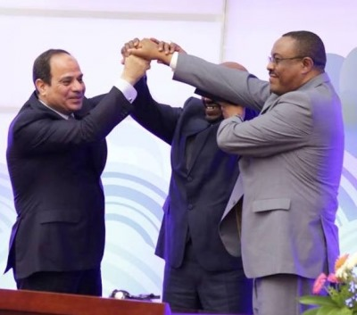 Photo- Al-Sisi, Al-Bashir, Hailemariam Desalegn after signing a deal on Renaissance dam