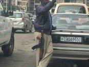 Ethiopian police officer on Addis Ababa street