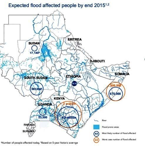 Map - Horn of Africa Expected flood affected people by end 2015