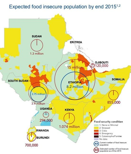 Map - Horn of Africa Expected food insecure population by Dec. 2015