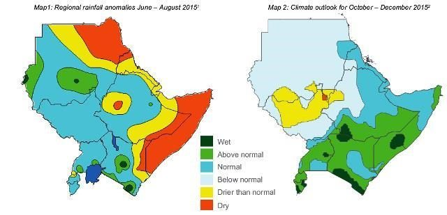 Map - Horn of Africa rainfall and climate (June to December 2015)