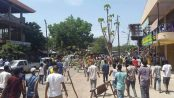 Photo - Gambella city residents protesting on April 23. [Photo: Social media]