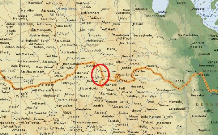 Map - Ethiopia Eritrea border - Tsorena area