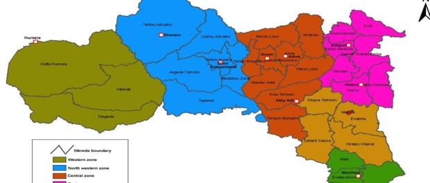 Map - Administrative zones of Tigray, Ethiopia