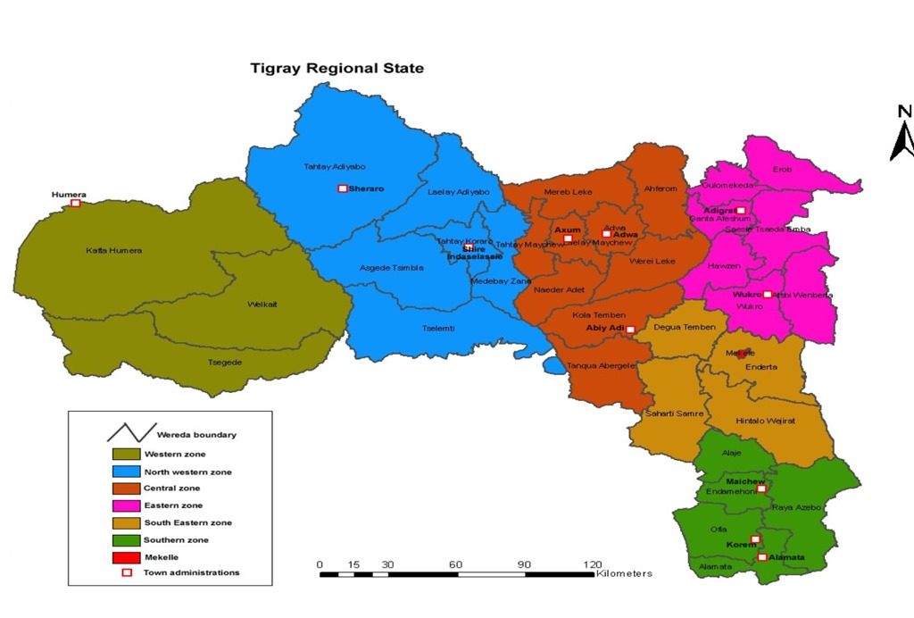 Map - Administrative zones of Tigray, Ethiopia