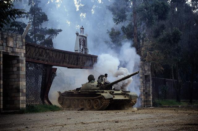 Photo - EPRDF fighters entering the National Palace, Addis Ababa, May 28, 1991