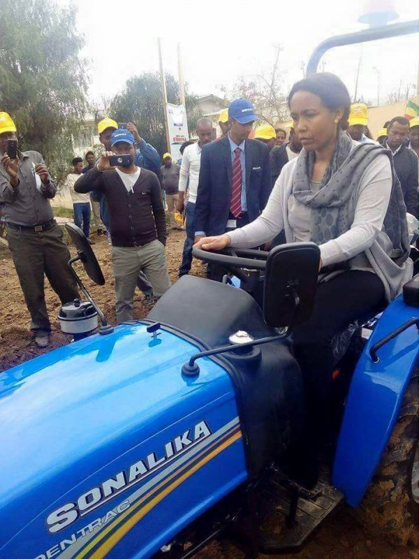 Photo - EFFORT CEO Azeb Mesfin driving a tractor