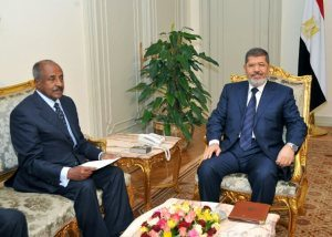 President Mohamed Morsi and Foreign Minister Mohamed Amr met with the Eritrean foreign minister Osman Saleh and the Eritrean presidential adviser for political affairs, Yamani Jabr