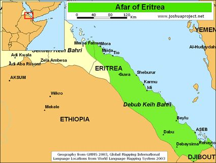 Map - Afar region in Eritrea