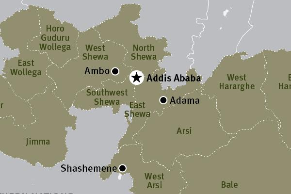 Map - Central Oromia and Addis Ababa, Ethiopia